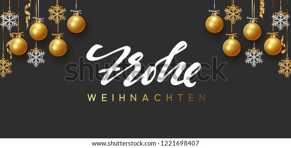 Frohe Weihnachten Text.German Text Frohe Weihnachten Merry Christmas Stock Vector