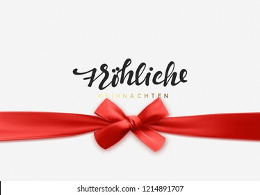German text Frohliche Weihnachten. Merry Christmas Holiday background. Handwritten text, realistic textured pattern, pull ribbon bow.
