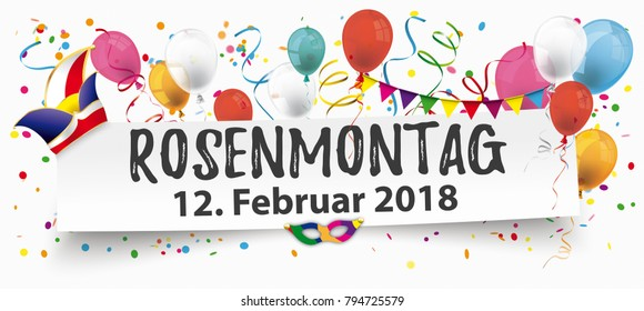 German text Rosenmontag, translate Carnival Monday. Eps 10 vector file.
