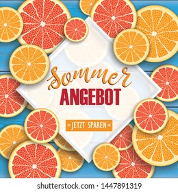 German text Sommer Angebot, Jetzt Spare, translate Summer Sale, Save Now.  Eps 10 vector file.