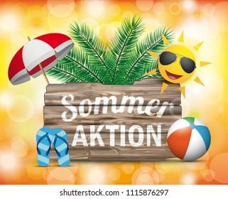 German text Sommeraktion, translate Summer Sale. Eps 10 vector file.