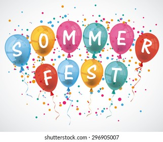 "German text ""Sommerfest"", translate ""Summer fair"". Eps 10 vector file."