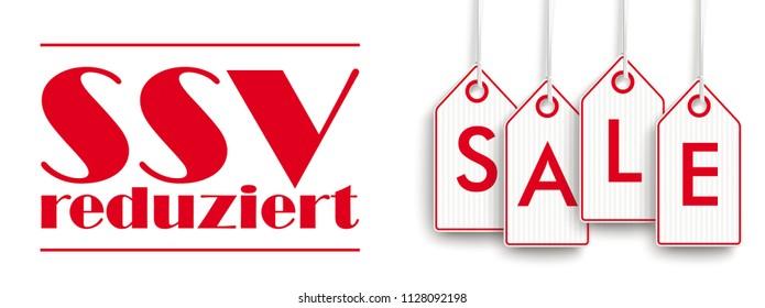 German text SSV reduziert, translate Summer Sale. Eps 10 vector file.