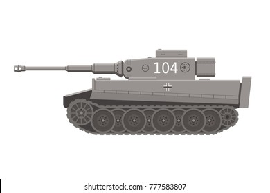 German Tiger I tank of world war II, flat illustration.