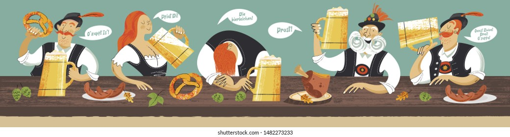 German traditional toast. Prost, Oans, Zwoa, Drei, G'suffa, O'zapft Is, Die Bierleichen Pfiat di. Vector illustration. People drink beer at the traditional Oktoberfest beer festival.