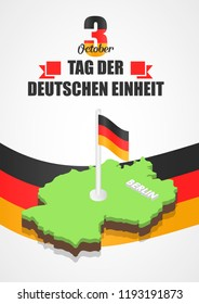 German unity day concept background. Isometric illustration of german unity day vector concept background for web design
