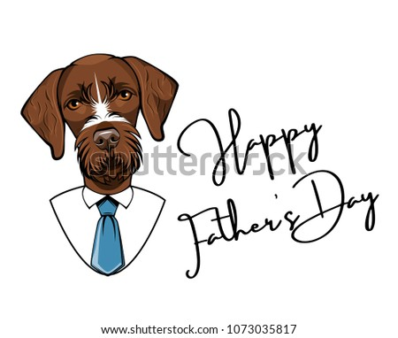 60beb2595 German Wirehaired Pointer dog. Fathers day greeting card. Drahthaar Dad.  Mens suit, Necktie, Tie. Vector illustratiom - Vector