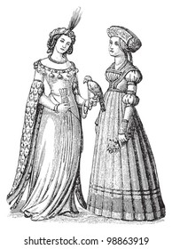 German woman fashion - Late Middle Ages (1450-1500) / vintage illustration from Die Frau als hausarztin 1911