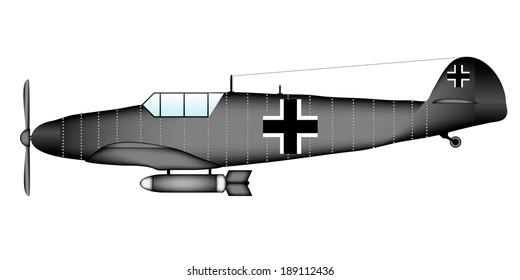 German WW2 fighter on white background - vector illustration.