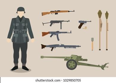 a german ww2 soldier gun equipment with bazooka machine gun pistols artillery vector graphic illustration