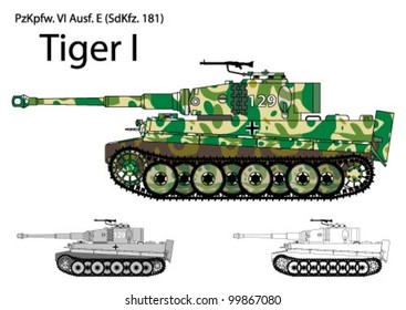 German WW2 Tiger tank with Winter/Spring camouflage
