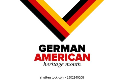 German-American Heritage Month. Happy holiday celebrate annual in October. Germany and United States flag. Culture month. Patriotic design. Poster, card, banner, template. Vector illustration