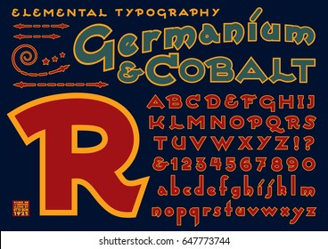 Germanium & Cobalt is an a modern reinterpretation of a public domain typeface designed by Otto Heim in 1925. This file includes all capitals, numerals, some punctuation, and design elements.