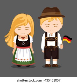 Germans in national dress with a flag. A man and a woman in traditional bavarian costume. Travel to Germany. People. Vector illustration.
