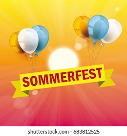 Germant text Sommerfest, translate Summer Fair. Eps 10 vector file.
