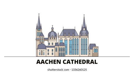 Germany, Aachen Cathedral flat landmarks vector illustration. Germany, Aachen Cathedral line city with famous travel sights, skyline, design.