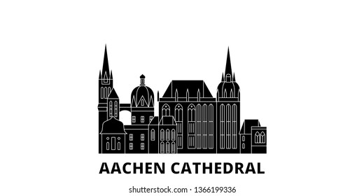 Germany, Aachen Cathedral flat travel skyline set. Germany, Aachen Cathedral black city vector illustration, symbol, travel sights, landmarks.