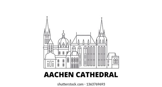 Germany, Aachen Cathedral line travel skyline set. Germany, Aachen Cathedral outline city vector illustration, symbol, travel sights, landmarks.