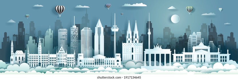 Germany architecture travel landmarks of berlin with Balloons and airplane in Germany country, Tour cityscape with panorama view and capital, Origami paper cut style for travel poster and postcard.