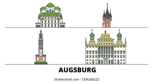Germany, Augsburg flat landmarks vector illustration. Germany, Augsburg line city with famous travel sights, skyline, design.