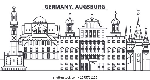 Germany, Augsburg line skyline vector illustration. Germany, Augsburg linear cityscape with famous landmarks, city sights, vector landscape.