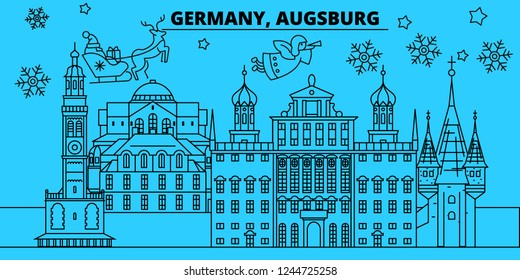 Germany, Augsburg winter holidays skyline. Merry Christmas, Happy New Year decorated banner with Santa Claus.Germany, Augsburg linear christmas city vector flat illustration