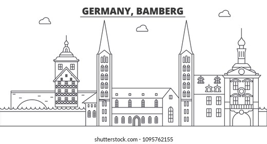 Germany, Bamberg line skyline vector illustration. Germany, Bamberg linear cityscape with famous landmarks, city sights, vector landscape.
