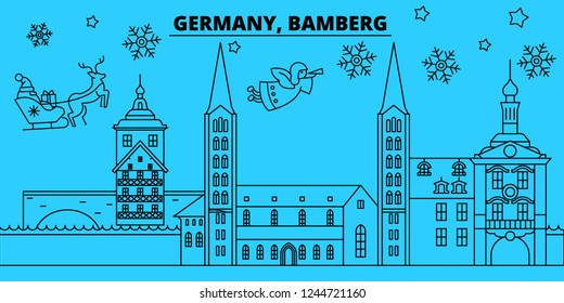 Germany, Bamberg winter holidays skyline. Merry Christmas, Happy New Year decorated banner with Santa Claus.Germany, Bamberg linear christmas city vector flat illustration