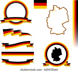 Germany Banner Set. Vector graphic ribbons, flags and banners of Germany.