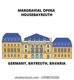 Germany, Bayreuth, Bavaria, Margravial Opera Housebayreuth line icon concept. Germany, Bayreuth, Bavaria, Margravial Opera Housebayreuth flat vector sign, symbol, illustration.
