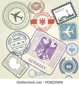 Germany and Berlin journey, travel stamps, labels and stickers, vector