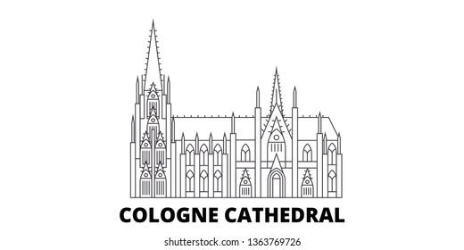 Germany, Cologne Cathedral line travel skyline set. Germany, Cologne Cathedral outline city vector illustration, symbol, travel sights, landmarks.