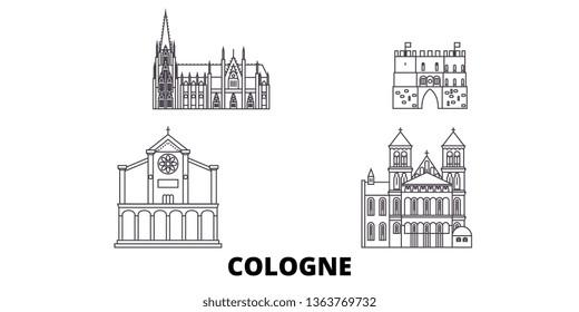 Germany, Cologne line travel skyline set. Germany, Cologne outline city vector illustration, symbol, travel sights, landmarks.