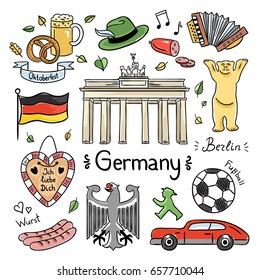 Germany color hand drawn illustrations. Vector symbols of Germany: travel icons and doodles