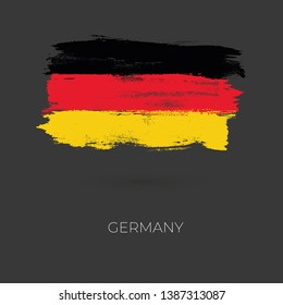 Germany colorful brush strokes painted national country flag icon. Painted texture.
