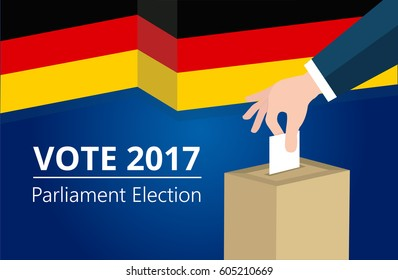 Germany democracy political process selecting president or parliament member with election and referendum freedom to vote vector illustration