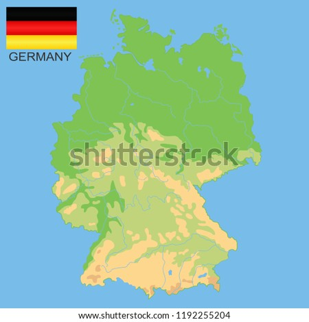 Elevation Map Of Germany.Germany Detailed Physical Map Germany Colored Stock Vector Royalty
