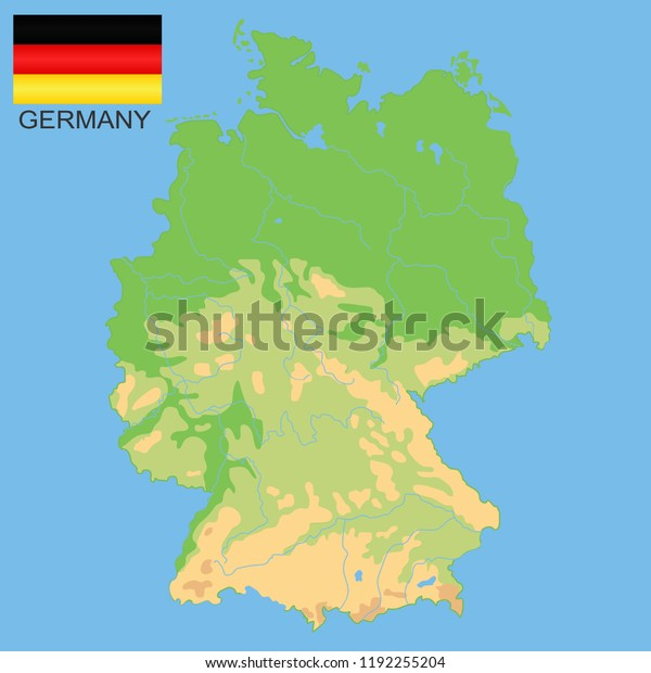 Map Of Germany Mountains.Germany Detailed Physical Map Germany Colored Stock Vector Royalty