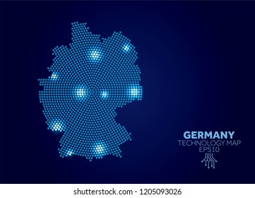 Germany dotted technology map. Modern data communication concept