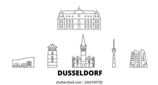 Germany, Dusseldorf line travel skyline set. Germany, Dusseldorf outline city vector illustration, symbol, travel sights, landmarks.