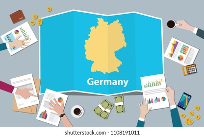 germany economy country growth nation team discuss with fold maps view from top vector illustration