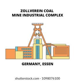 Germany, Essen, Zollverein Coal Mine Industrial Complex line icon concept. Germany, Essen, Zollverein Coal Mine Industrial Complex flat vector sign, symbol, illustration.