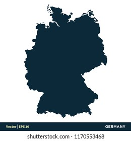 Germany - Europe Countries Map Vector Icon Template Illustration Design. Vector EPS 10.