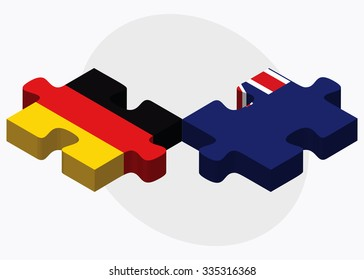 Germany and Falkland Islands Flags in puzzle isolated on white background