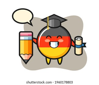 Germany flag badge illustration cartoon is graduation with a giant pencil, cute style design for t shirt, sticker, logo element