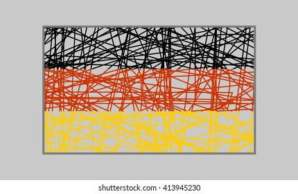 Germany flag design concept. Flag painted by pencil strokes. Image relative to travel and politic themes