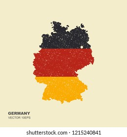 Germany flag in form of map. Federal Republic of Germany. National flag concept. Vector illustration with scuffed effect
