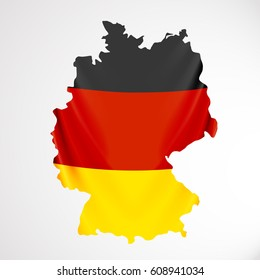 Germany flag in form of map. Federal Republic of Germany. National flag concept. Vector illustration.