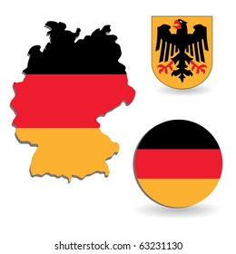 The Germany flag and map on a white background
