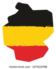 Germany Flag and Map Vector Hand Painted with Rounded Brush